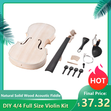 DIY 4/4 Full Size Violin Kit Natural Solid Wood Acoustic Fiddle with EQ Spruce Top Maple Back Neck Fingerboard Tailpiece New