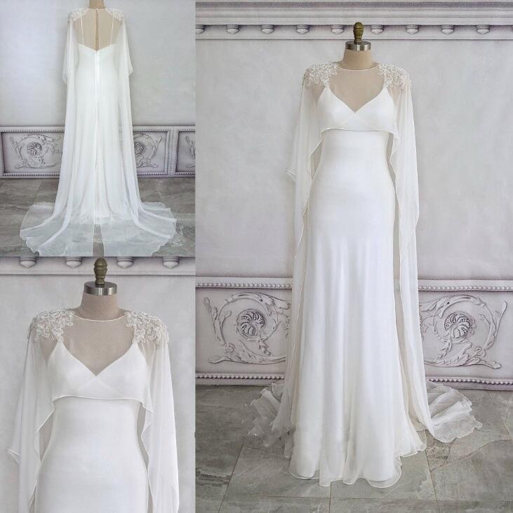 Lange Kapper Shawls For Bride Ivory Chiffon Wedding Capes White Beading Jackets
