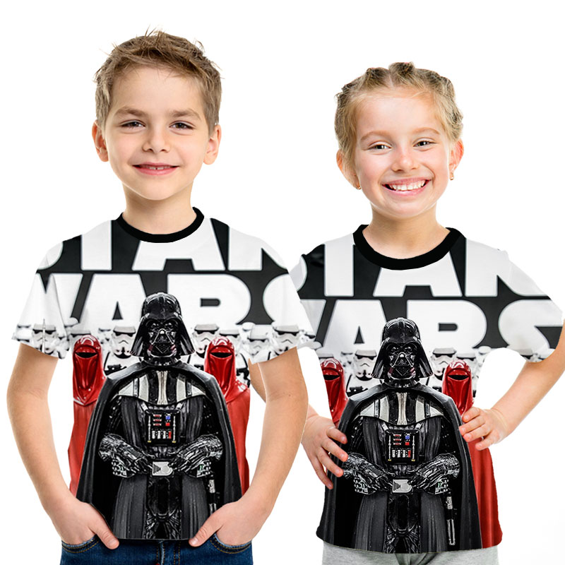 2019 New Camisetas Hombre Novelty Star Wars Kids T-Shirts Tshirts 3D Print Tops O-Neck Short Sleeve Boys Funny Tees Size 4T-14T