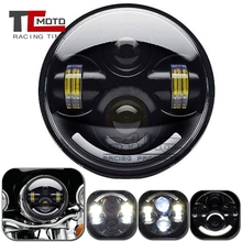 цена на 5.75 inch Motorcycle Projector 45W LED Headlight for Harley Dyna Sportster Victory Triumph Indian 5.75 Round Headlamp Black