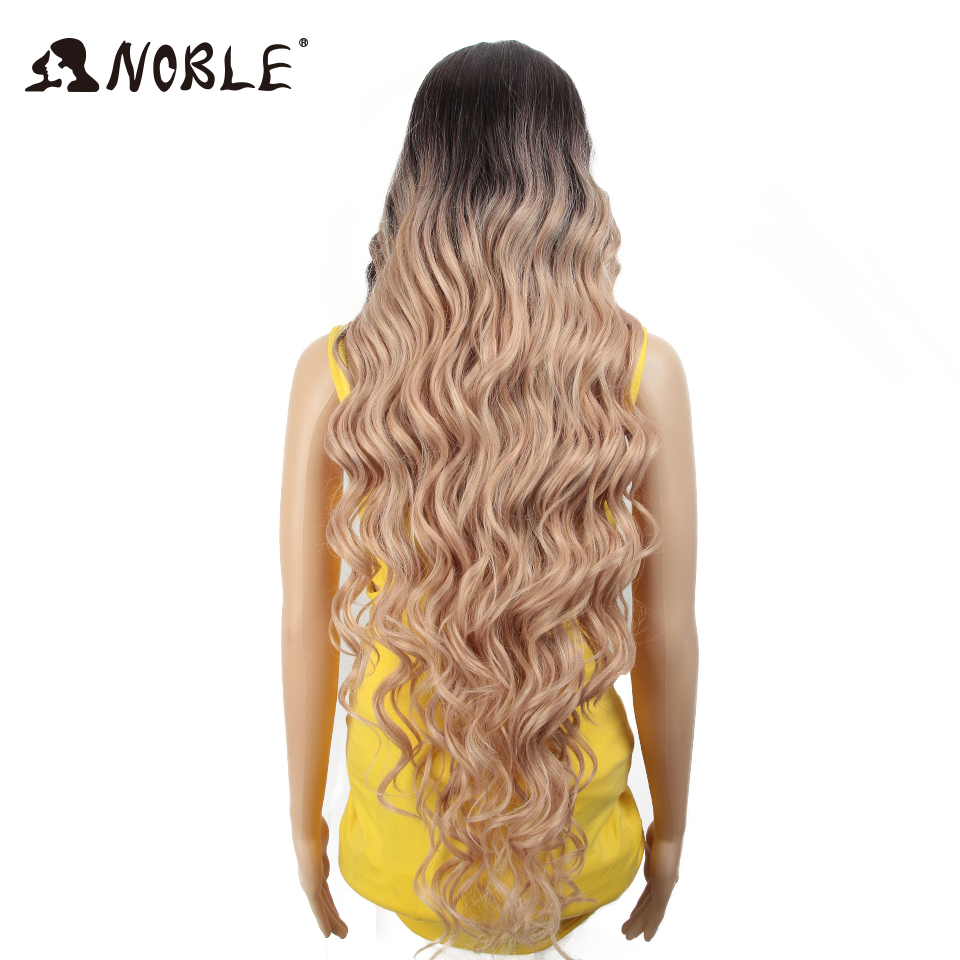 Noble Synthetic Lace Front Wig ombre blonde Wig 42 inch Pink american Long Deep wave Wig Cosply Synthetic Wigs For Black Women-in Synthetic None-Lace  Wigs from Hair Extensions & Wigs