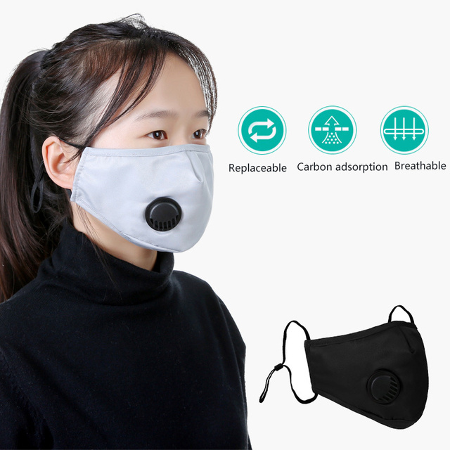 Breath Valve PM2.5 Mouth Mask Anti flu Mask Face Mouth Filter Mask non disposable mask Filters can be replaced 1