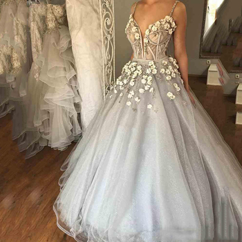 Custom Made Ball Gown Prom Dress 2020 Spaghetti V Neck Tulle Illusion Aline Flowers Dress Evening Wear Formal Dress Elegant Buy At The Price Of 112 77 In Aliexpress Com Imall Com