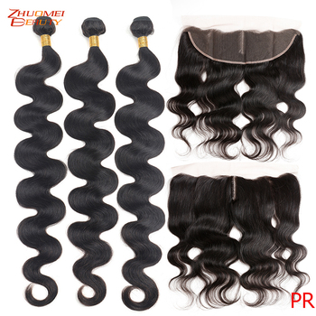 Body Wave Bundles With Frontal Peruvia Human Hair 3/4 Bundles With Frontal Closure Remy Hair With Closure Can Make Into Wigs image