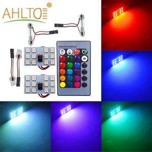 T10 Car Led RGB DC 12V 5050 12SMD Auto Led Remote Controller Panel Interior Auto Lamp Atmosphere Dome Festoon BA9S Adapter Light