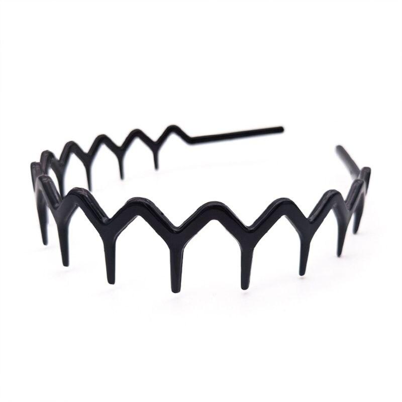 Unisex Acrylic Thin Headband Plastic Wavy Toothed Hair Hoop Zigzag Comb Hairband 40JF