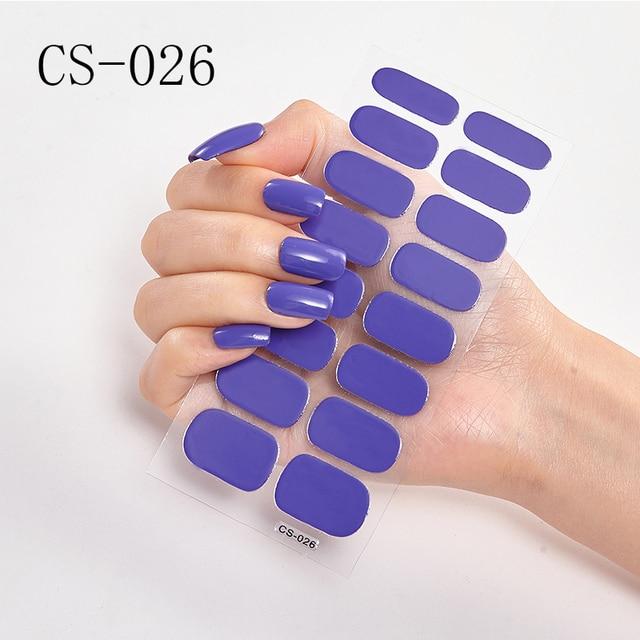 1 hoja arte de uñas pegatina polaco envuelve doble extremo adhesivo puro Color sólido cubierta completa tiras DIY moda pegatinas manicura