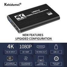 Carte d'acquisition USB 3.0 pour jeux vidéo en direct, enregistreur vidéo HD 1080P 60fps, compatible HDMI, 4K