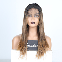 RONGDUOYI Ombre 2X Twist Braids Lace Wigs for Women Long Heat Resistant Synthetic Lace Front Wig Two Tone Brown Hair Braided Wig