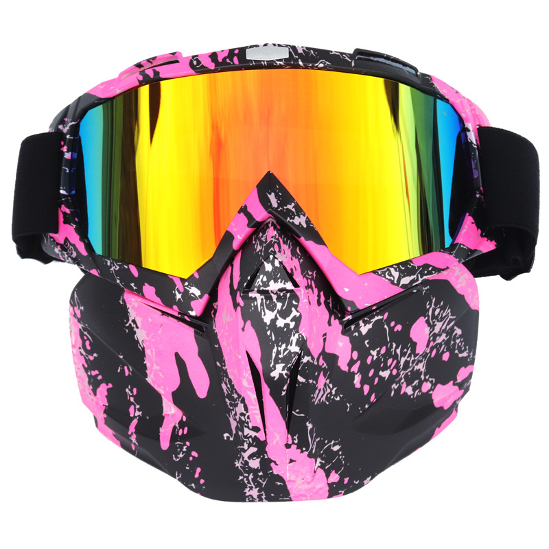 Купить с кэшбэком Men Women Riding Ski Snowboard Snowmobile eyewear Mask Snow Winter Skiing Ski Anti-UV Waterproof Glasses Motocross Sunglasses A