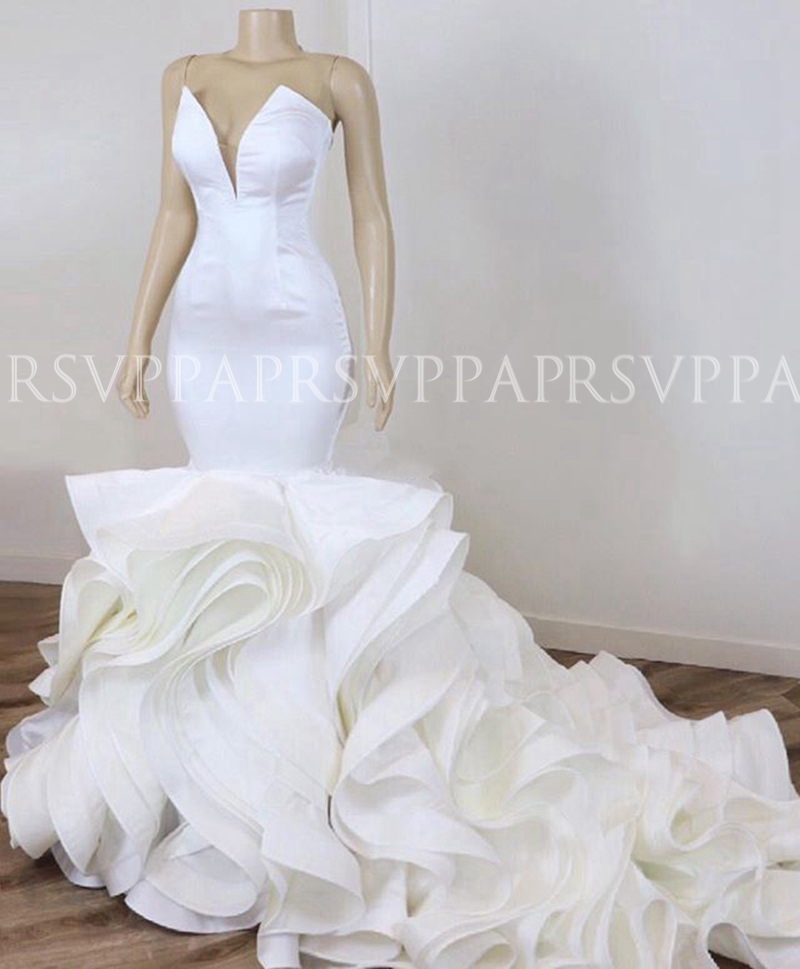 Plus Size Luxury Sexy Mermaid Bride Trumpet Wedding Gowns Satin African Women White Wedding Dress 2020