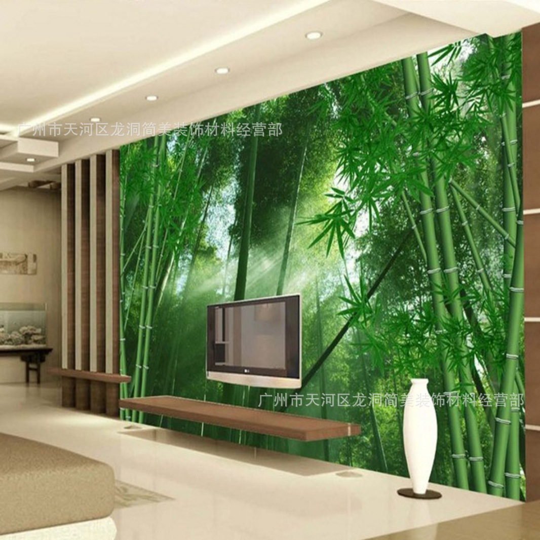 Green Garden Zhu Lin Feng 3D Mural Television Sofa Wall Wallpaper Restaurant Bedroom Bamboo Non-woven Wallpaper