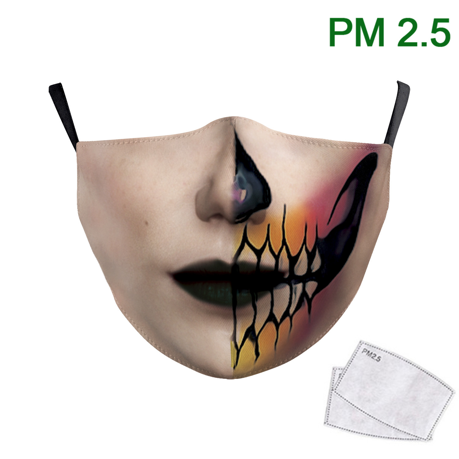 Gothic Style Women Face Print Masks Big Mouth Fashion Washable Fabric Mask Adult Reusable PM2.5 Protective Dust Masks