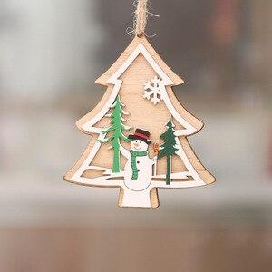 Image 3 - 1 pc nova árvore de natal ornamentos pendurado árvore de natal decoração de festa em casa 3d pingentes alta qualidade pingente de madeira decoração cor