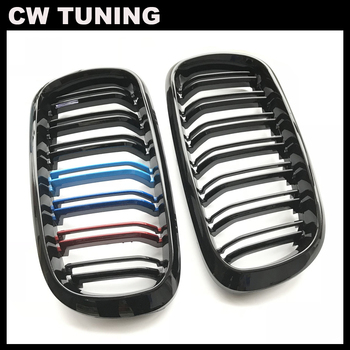 1Pair Car Kidney Grill Gloss Black M Racing Grille For BMW F15/F16 X5 X6 2014 2015 2016 2017 Car Tuning Front Grills Accessories image