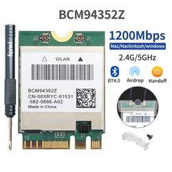 1200 mb/s dwuzakresowy bezprzewodowy MacOS Hackintosh BCM94352Z NGFF M.2 karta Wifi Bluetooth 4.0 802.11ac Adapter Airdrop Handoff DW1560