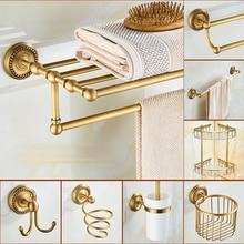 Brass bathroom Accessories Antique Bath Towel set Towel Ring Carved Toilet Paper Holder Creative Towel Bar Bathroom Hardware Set