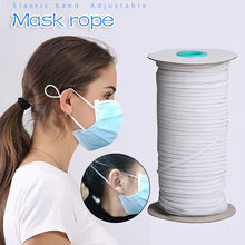 DIY Mask Elastic Band Mask Rope Rubber Band Tape Ear Hanging Rope Elastic Band Clothing Craft Accessories DIY Mask Black White(China)