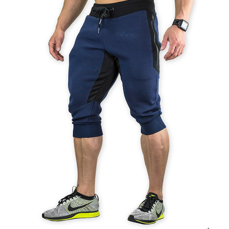 Summer Men Sweatpants with Zipper Pocket 3 4 Capri Sport Pants Jogging Running Casual Fitness Workout athletic Pant Sportswear in Running Pants from Sports Entertainment
