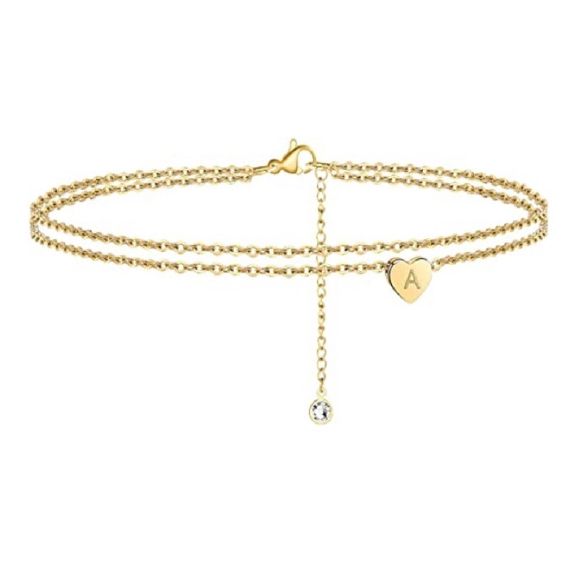 Letter Heart Ankle Bracelet Gold Color Dainty Layered Anklet Bracelets Letter Anklet Beach Accessories For Women Jewelry Gifts