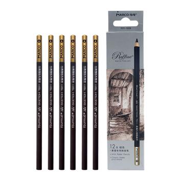 Marco specjalne szkic ołówki biały węgiel ołówki czarny profesjonalny węgiel drzewny sztuki podkreślić szkic Art pastelowe ołówki tanie i dobre opinie WOOD 7011-12CB Carbon Painting Sketch Pencil about 174mm Writing and Painting