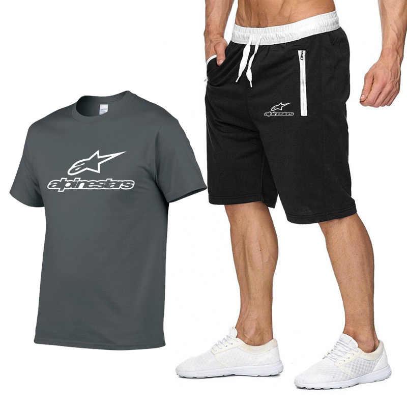 2020 Fashion T-shirt Shorts Set Heren Zomer 2 Pc Trainingspak + Shorts Sets Strand Mens Casual Tee Shirts Set Sportswears