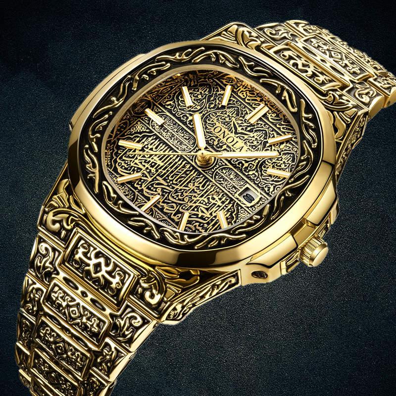 Часы наручные ONOLA Мужские кварцевые, модные брендовые роскошные золотистые из нержавеющей стали в стиле ретро