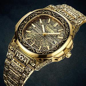 Image 1 - אופנה קוורץ שעון גברים מותג ONOLA יוקרה רטרו זהב נירוסטה גברים שעון זהב mens שעון reloj hombre
