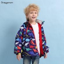 Мода 2020 новая осенняя и зимняя уличная детская одежда Европейский стиль динозавр куртка пальто для мальчиков ветровка штормовка