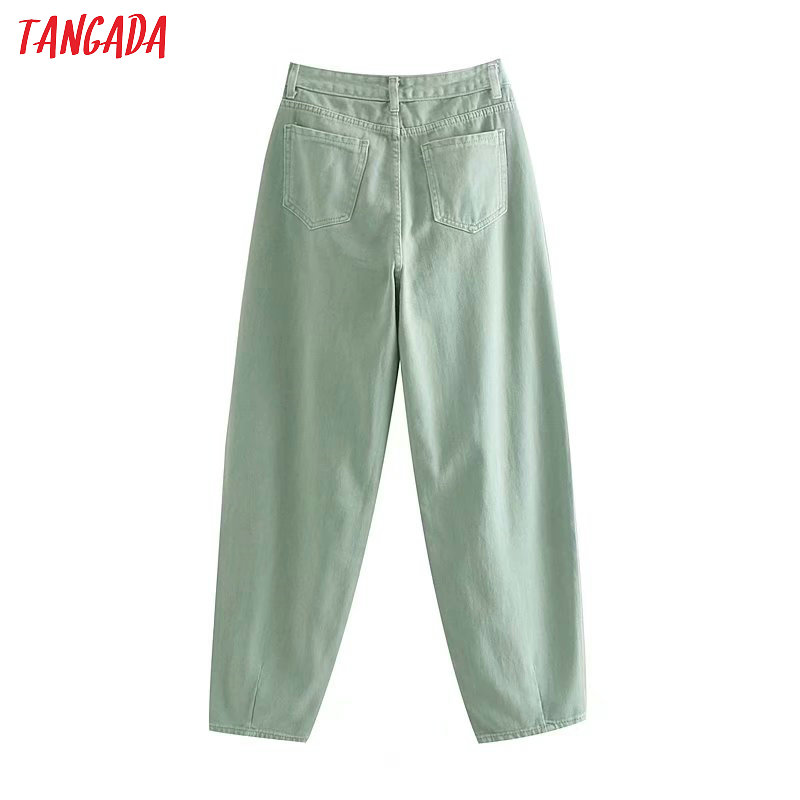 Tangada fashion women loose mom jeans long trousers pockets zipper loose streetwear female pants 4M58 26