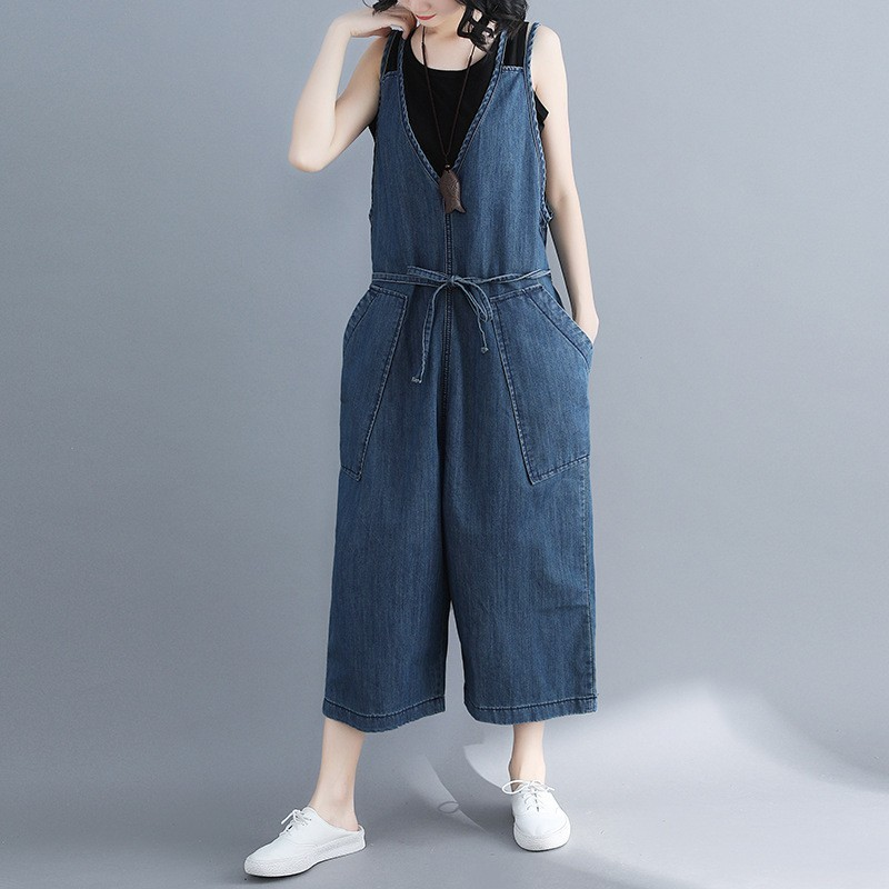Loose Women Wide Leg Denim Jumpsuits Overalls Korean Fashion Casual Summer Sleeveless V-Neck Drawstring Ladies Jeans Jumpsuits