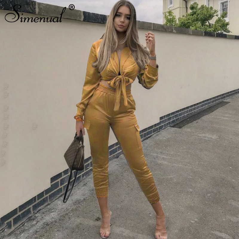 Simenual Satin Sexy Bandage Women Matching Set Fashion Solid Bodycon Long Sleeve Two Piece Outfits Party Crop Top And Pants Sets