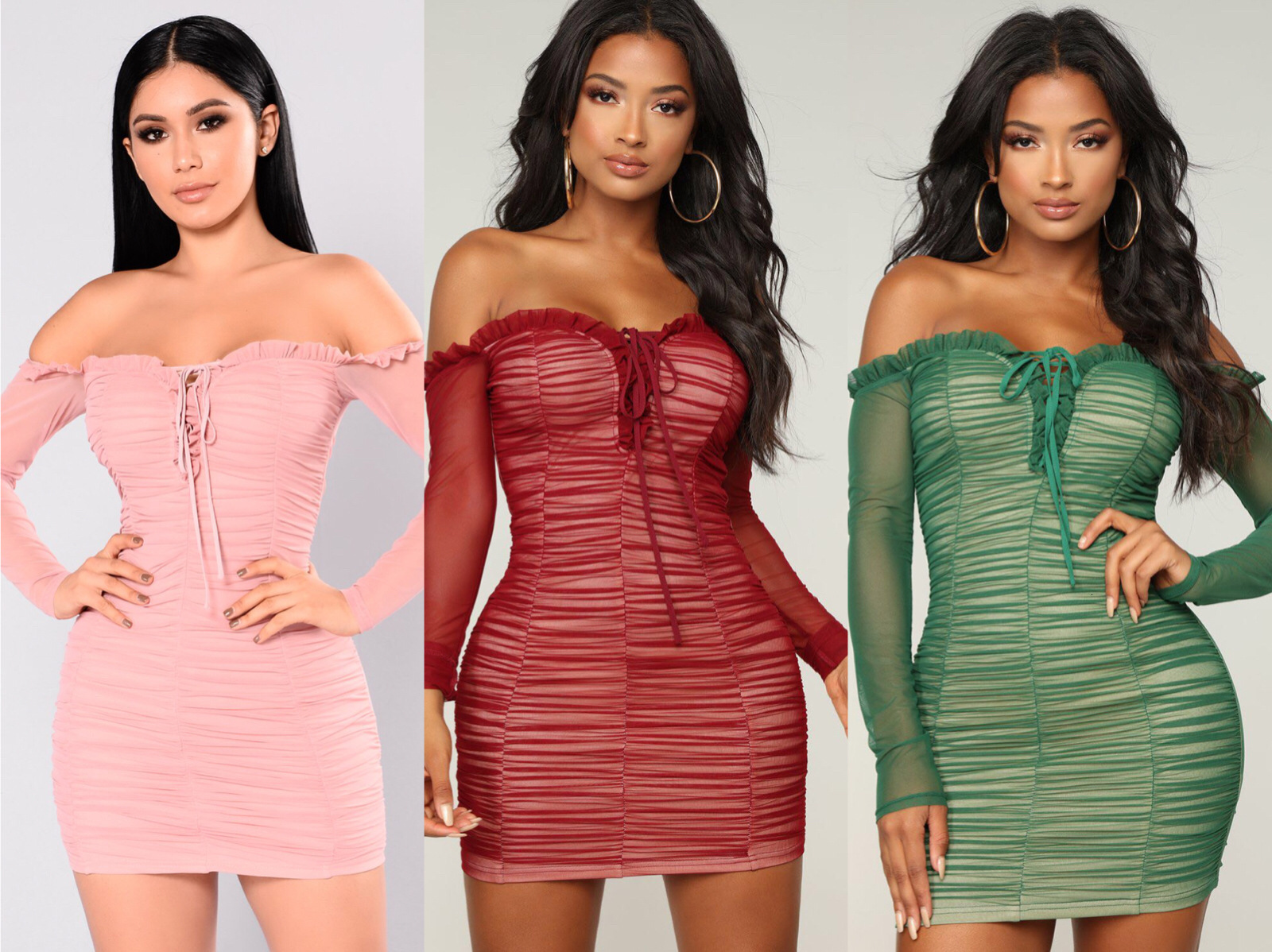 BacklakeGirls Sexy Off Shoulder Strapless Full Sleeve Solid Color Wrap Buttocks Short Cocktail Dress For Cocktail Party Vestido