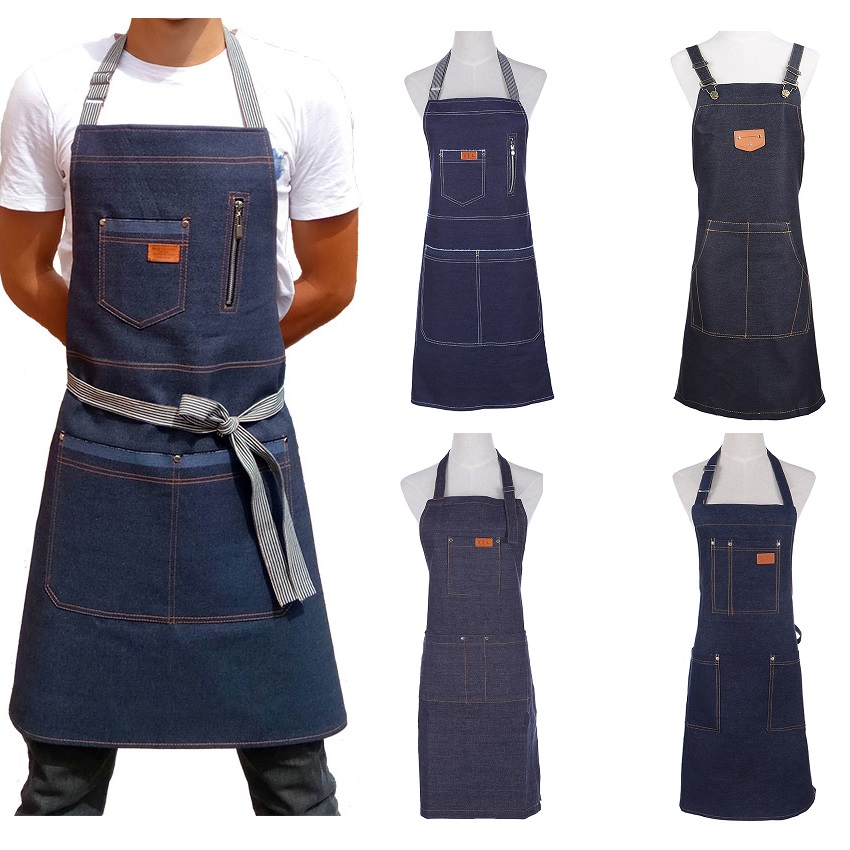 New Fashion Denim Apron For Chef Kitchen BBQ With Pockets Grill Baking Cooking Aprons For Men Coffee Shop And Studio Overalls