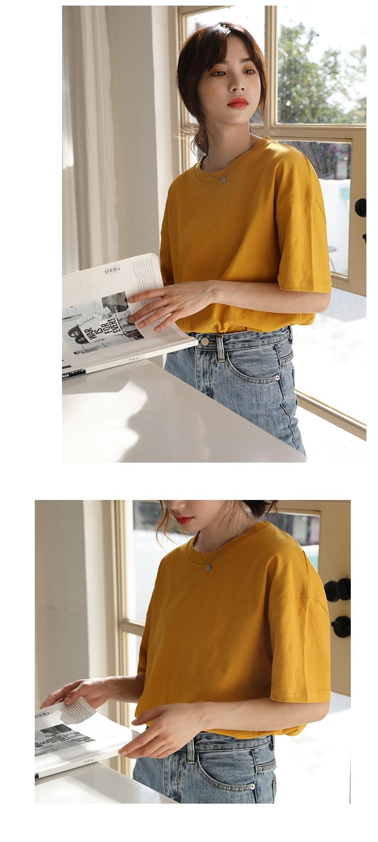 H4415413a8aa34c37868348ac9518c9b8k - Summer O-Neck Short Sleeves Minimalist Loose Basic T-Shirt