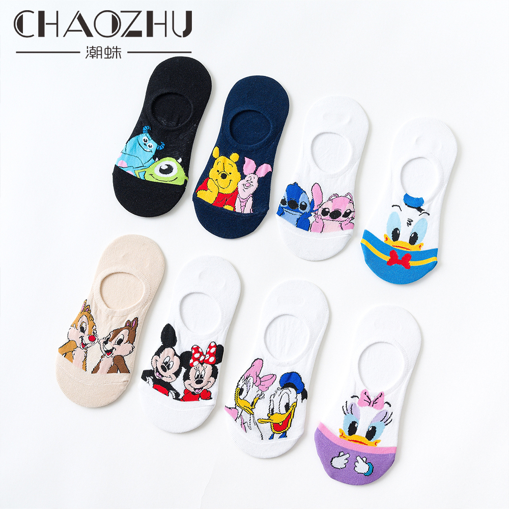 CHAOZHU New Spring Summer Cotton Non-slip Invisible Short Socks Women Girls Cartoon Duck Mouse Dog Bear Fashion Meias Loafer