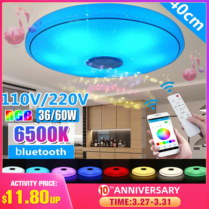 Modern RGB LED Ceiling Lights Home Lighting 36W 60W APP Bluetooth Music Light Bedroom Lamps Smart Ceiling Lamp+Remote Control