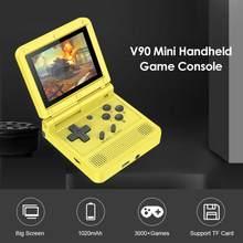 1pc novo v90 3-Polegada ips tela flip handheld console duplo sistema aberto game console 16 simuladores retro ps1 crianças presente 3d novo jogo