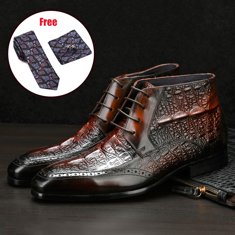 Men Winter Boots Genuine Cow Leather Chelsea Boots Brogue Casual Ankle Flat Shoes Comfortable Quality Lace Up Dress Boots