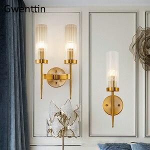 Image 1 - מודרני זהב קיר מנורת Led נורדי מראה קיר אור גופי זכוכית פמוט לסלון חדר שינה בית לופט תעשייתי דקור e27