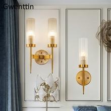 Modern GOLD โคมไฟ LED Nordic กระจกโคมไฟแก้ว Sconce สำหรับห้องนอนห้องนั่งเล่นห้องนอน Home LOFT Decor อุตสาหกรรม e27