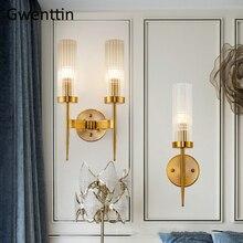 現代の金の壁ランプ led 北欧ミラーウォールライト器具ガラス燭台ためリビングルームベッドルームホームロフト産業装飾 e27