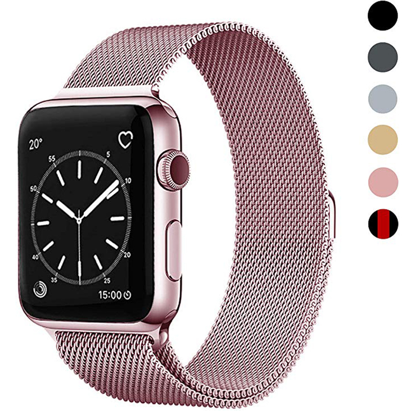 Milanese Loop Bracelet Stainless Steel Band For Apple Watch Series 1/2/3 42mm 38mm Strap Band For Iwatch 4 5 40mm 44mm Pink