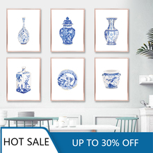 Chinese Style Porcelain Blue and White Porcelain Vase Wall Art Canvas Painting Posters Prints Aesthetic Home Decoration