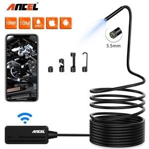 Image 1 - Cámara endoscópica Ancel WIFI 5,5 MM cámara de inspección usb 1080P para iPhone Android PC IP67 impermeable Cámara boroscopio semirrígido