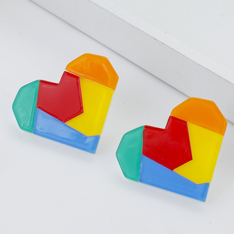 Lifefontier Korean Rainbow Color Stitching Resin Love Heart Earrings For Women Simple Candy Geometric Earrings Party Jewelry