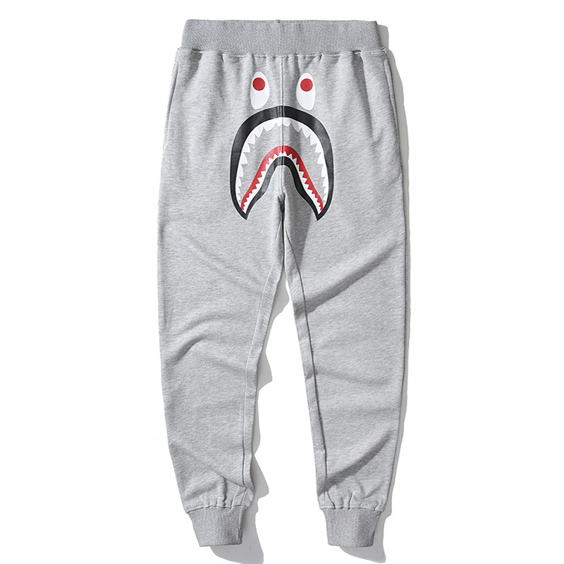 Popular Brand Classic Shark Pure Cotton Looped Pile Trousers Casual Pants Fashion Camouflage Pocket