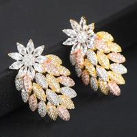 GODKI Trendy Luxury Big 3 Tone Hollow Flower Stud Earrings For Women Wedding Cubic Zircon CZ Indian Bridal Earrings Bohemia Hot