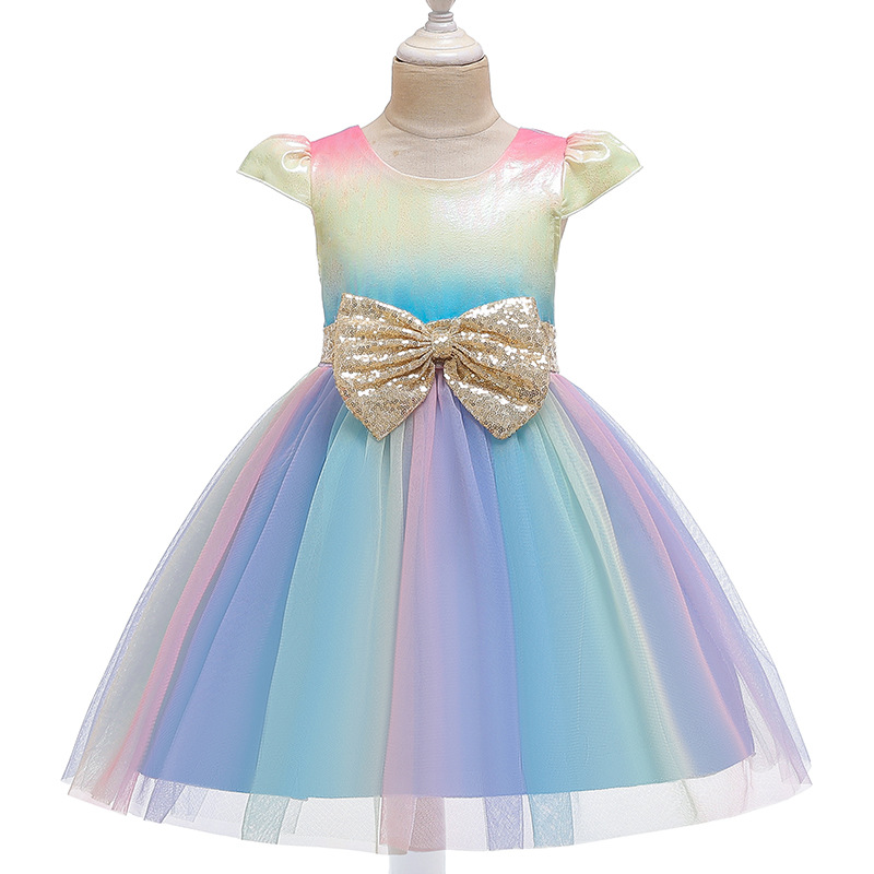 US Baby Girls Long Sleeve Kids Rainbow Tutu Party Wedding Dress Princess Clothes
