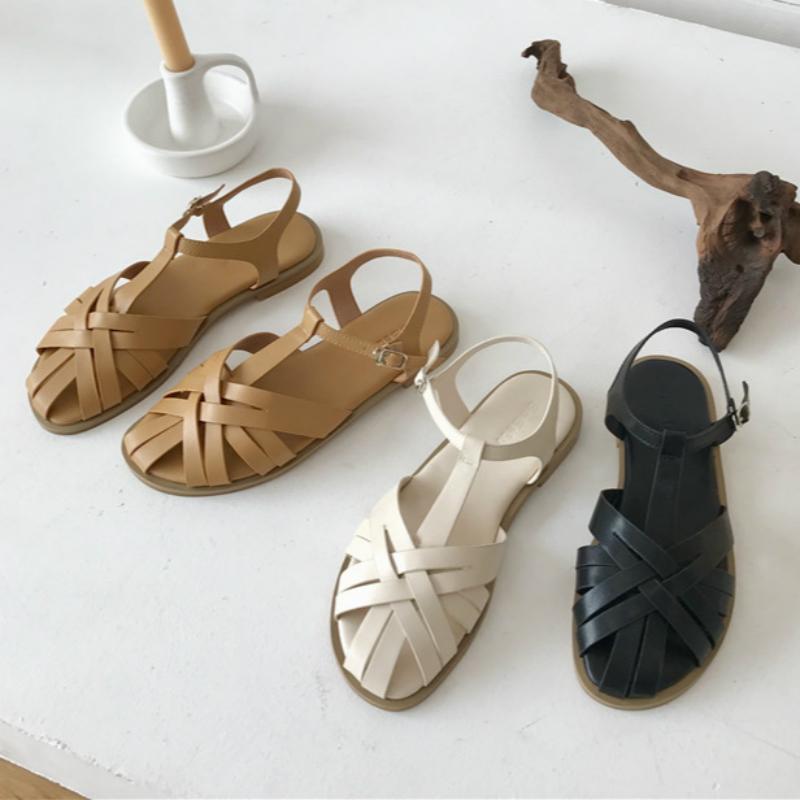 Brand Summer Sandals Women Flats T-Strap Gladiaror Sandal Casual Narrow Band Shoes Ladies Buckle Flat Slides 2020 Zapatos Mujer
